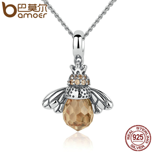 Sterling Silver Queen Bee Pendants Necklace Fine Jewelry