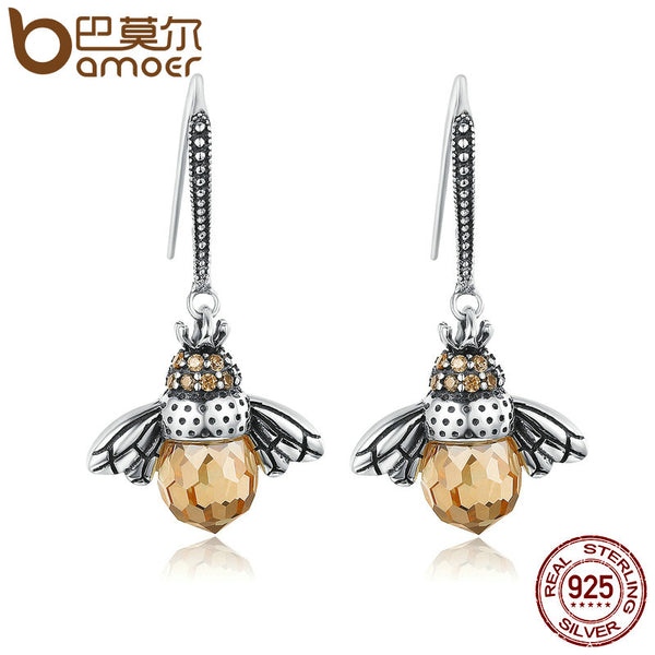 Sterling Silver Queen Bee Drop Earrings Fine Jewelry Genuine BAMOER