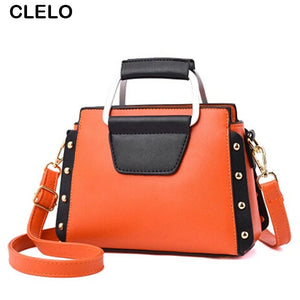 CLELO 2017 Luxury Brand Women Pu Leather Handbag Elegant Panelled  Small shoulder Bag