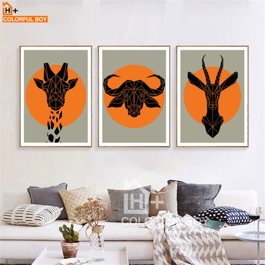 COLORFULBOY Canvas Painting Nordic Poster Geometry Wild African Home Decor Wall Art Canvas Prints Wall Pictures For Living Room