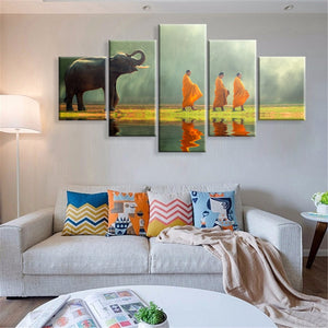 Canvas Painting Wall Art Home Decor For Living Room HD Prints 5 Pieces Poster Elephants and Monks Pictures Wooden Bar Frame Read