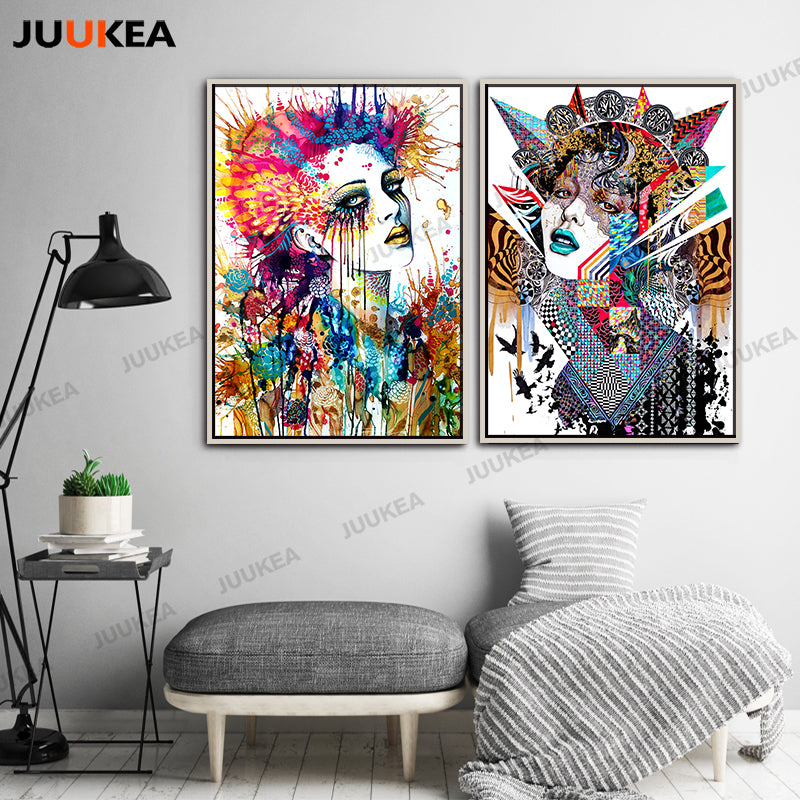 Canvas Print Painting Poster Modern Colorful Watercolor Abstract Fashion Cool Girls Wall Pictures For Living Room Home Decor