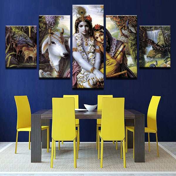 Canvas print art 5 panel HD printed canvas painting lord krishna poster Modern Home Decor wall Art picture for living room frame