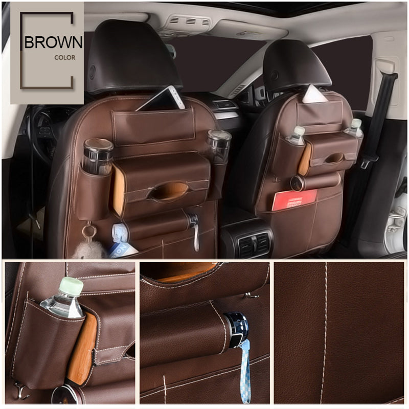 Car Seat Back Storage Bag Organizer Travel Box Pocket PU Leather Universal Stowing Tidying Protector Kids Drink Auto Accessoires