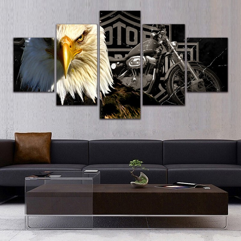 Drop Shipping 5 Piece Canvas Art Eagle Motorcycle Painting Living Room Modern Home Decoration Canvas Prints Wall Art Picture