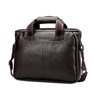 FEGER New Fashion Genuine Leather Men Bag Famous Brand  Causal  Laptop Briefcase Male
