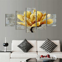 Fashion Unframed 5Pcs Pictures Canvas Oil Painting Gold Orchid Flower Painting Wall Art Decorative Living Room Modular Picture