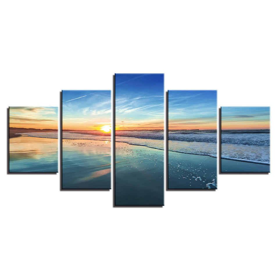 HD Home Decoration Modern Canvas Painting Poster Wall Art 5 Panel Sunrise Sea view Living Room Printed Pictures Modular No Frame