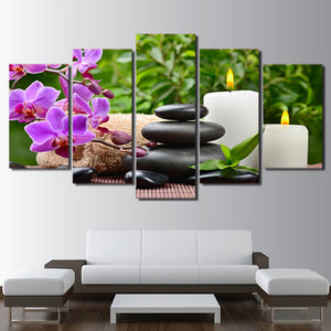 HD Printed 5 Piece Canvas Art Pink orchid Spa Zen Painting Framed Wall Picture for Living Room home decor on canvas wall