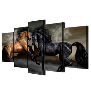 HD Printed 5 piece canvas art black brown horse painting wall pictures for living room wall art Free shipping