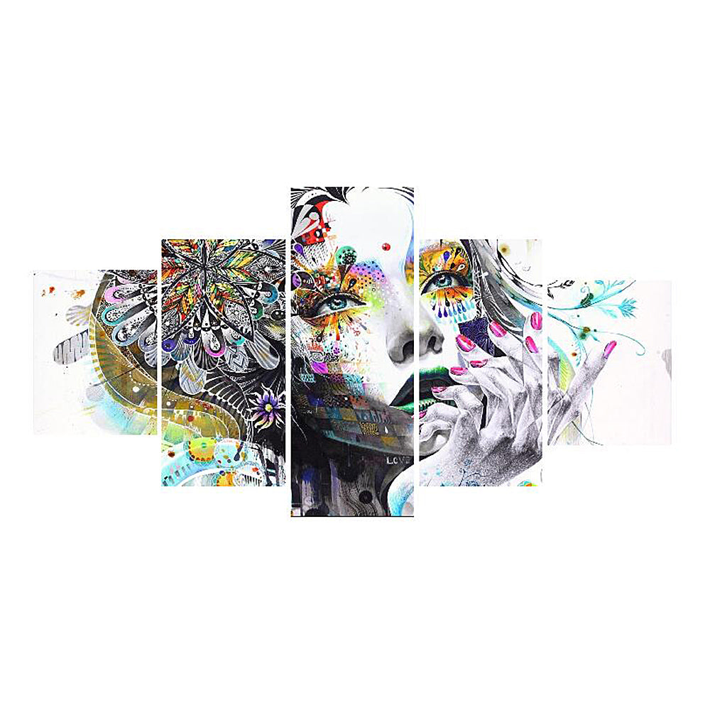 HD Printed 5pcs Wall Picture Frameless Flower Girl Pattern Canvas Painting Wall Art Pictures Decor For Home Living Room Bedroom