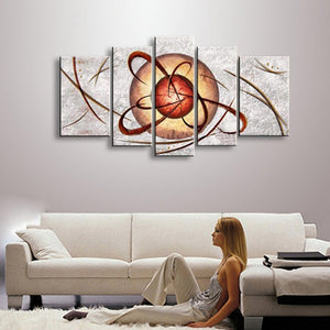 Hand Painted Abstract Planet Oil Painting on Canvas 5 Panel Pictures Modern Home Wall Art Large Paintings Sets For Living Room