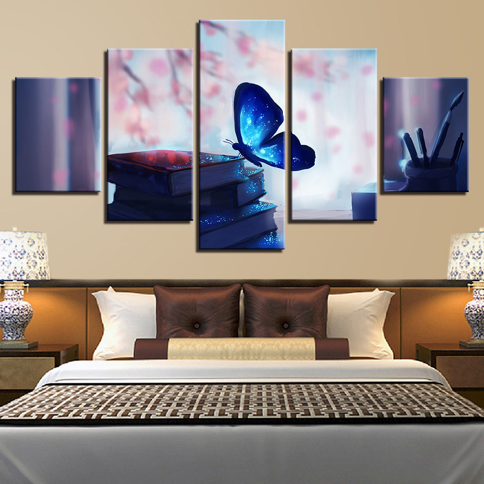 Home Decoration Posters Modern Wall Art Pictures 5 Panel Butterfly Beautiful Flowers Landscape Living Room Painting Printed