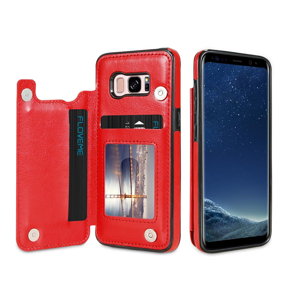 KISSCASE Card Slot Case For Samsung Galaxy S9 S8 Plus Stander Holder Cases For Samsung Galaxy S7 Edge Note 8 Leather Cover Capa
