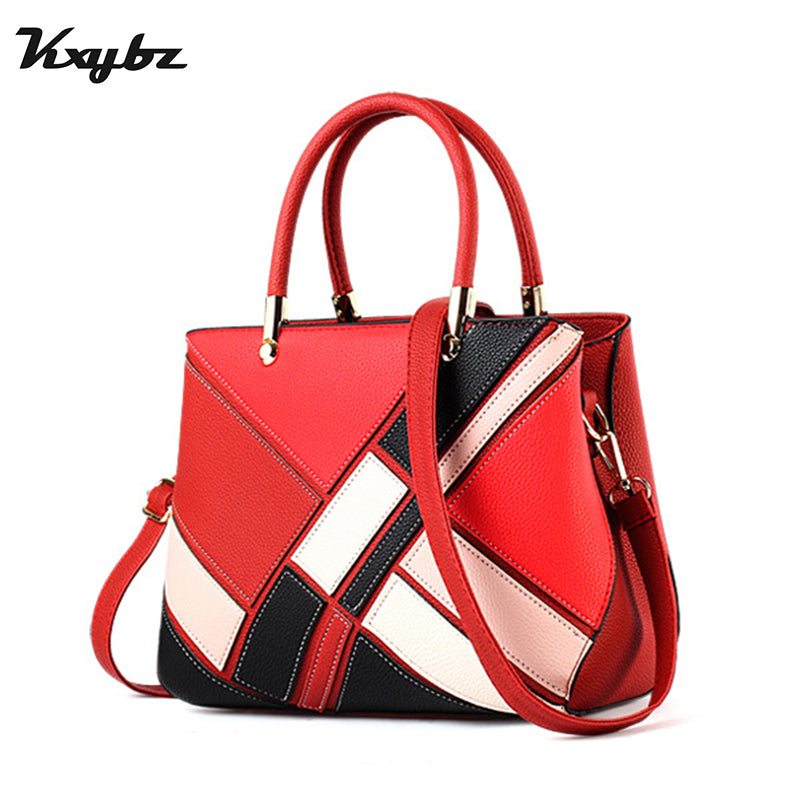 KXYBZ Luxury Designer Women Handbag Fashion Patchwork Hit Color Female Messenger Bag Soft Leather Women Crossbody Bag K1029