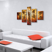Large 5 Panel Canvas Pictures Hand-painted Abstract Tree Paintings Handmade Trees Lovers Oil Painting Wall Art For Living Room