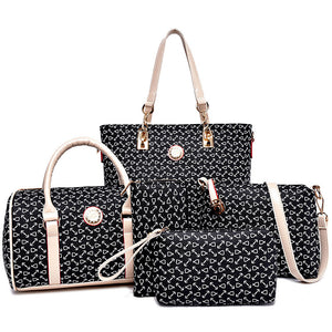 MIWIND 2017 New Women Handbags Buy One Get Five High Quality PU Leather Fashion Sweet Ladies Shoulder Bags Seven Colors Set Bag