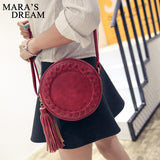Mara's Dream Round Women Tassel Bag Woven Crossbody Bags Womens Shoulder Bag Ladies Cute Knitting Circular Women Messenger Bags