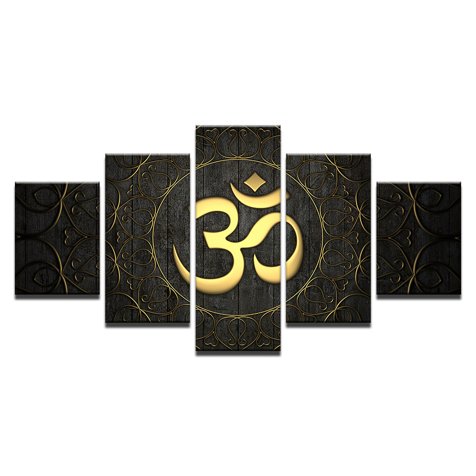 Modern Canvas Wall Art Home Decor For Living Room HD Prints Poster 5 Piece Buddha OM Yoga Painting Golden Symbol Pictures
