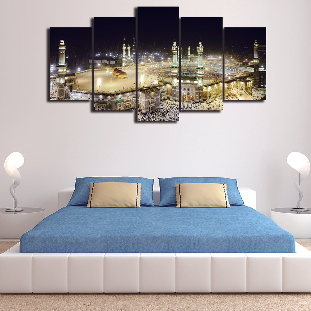 Mosque Painting On Canvas Unframed 5 Pieces Modern Islamic Muslim Poster Wall Picture Printed For Living Room Home Decor