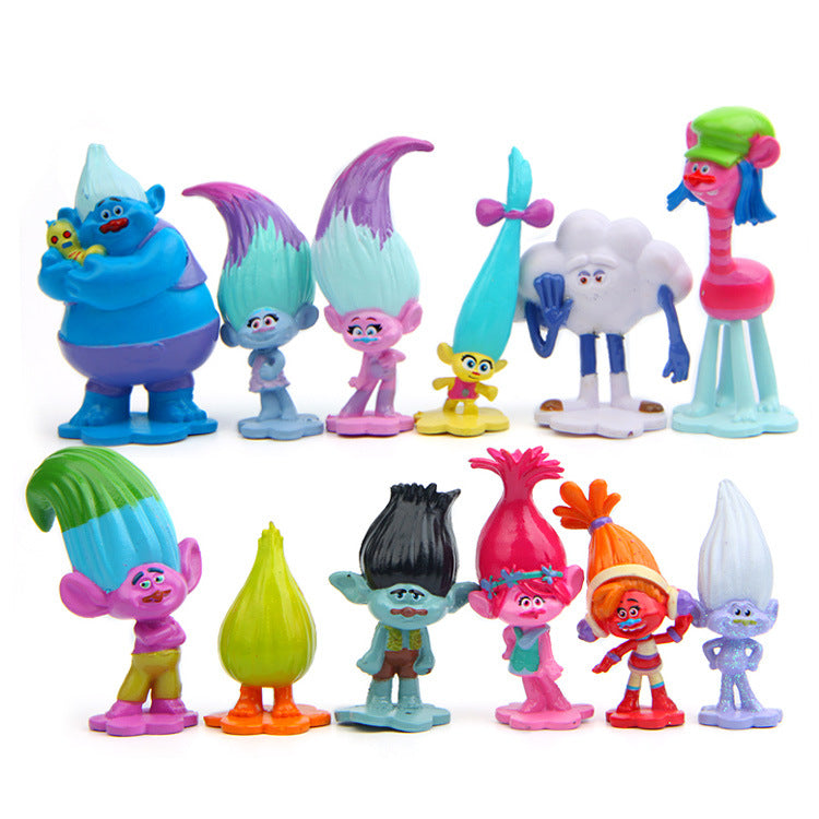 New Trolls Movie 12Pcs/Set Dreamworks Figure Collectible Dolls Poppy Branch Biggie Figures Doll Toy Trolls Figures Toys For Kids