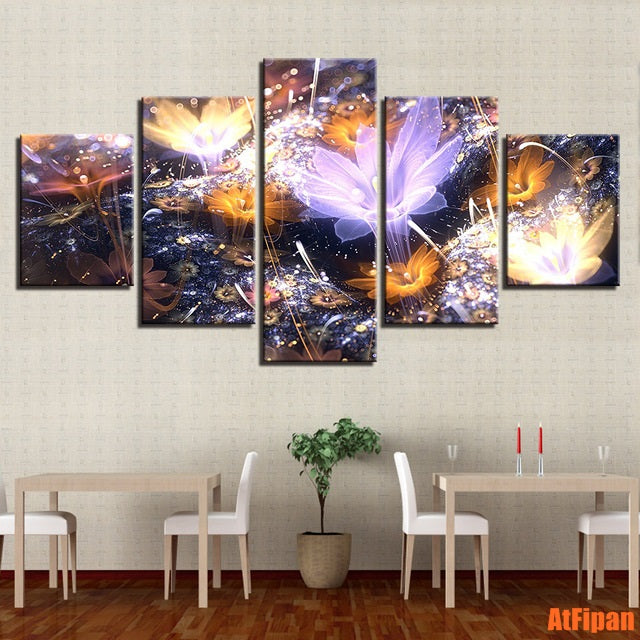 Painting HD Printed Modern Canvas Wall Art Pictures 5 Pieces Abstract Beautiful Flowers Living Room Home Decoration Poster