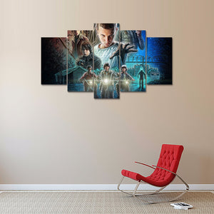 Prints 5 panel printed canvas painting stranger things TV Play series Modern Home Decor Wall art Picture For Living Room F1329