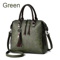 Faux Leather Designer Handbags For Women Famous Brand Vintage Fringed Zipper Shell