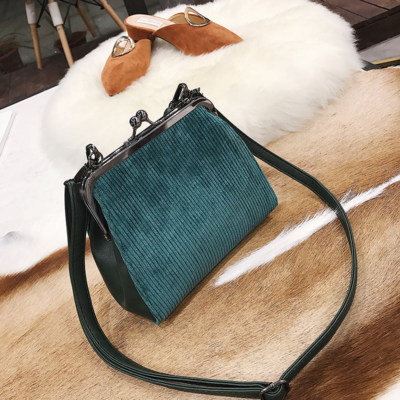 Striped corduroy women retro Shell small shoulder bag high quality tote/ clutch