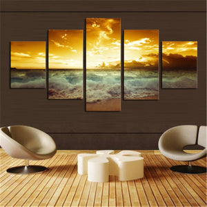 Sunset Beach 5 panels Unframed Wall Art Picture Home Decoration Living Room Canvas Print Wall Picture Printing On Canvas