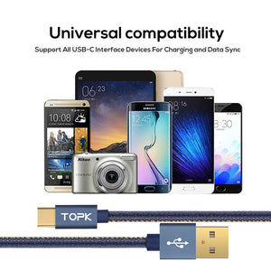 Type-C Cable ,Topk [1.2M 1.8M] Denim Braided USB C Gold-plated Fast Charging USB Type C Cable for MacBook Xiaomi 4C Letv Oneplus