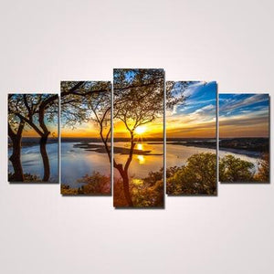 Unframed 5 Panel Wall Art Oil Painting On Canvas Printed Painting Pictures Decor painting large living room