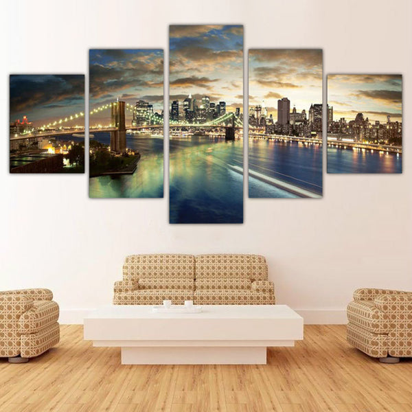 Unframed 5 Panels Canvas Painting Night City poster Wall Art Painting Modern Home Decor Picture For Living Room