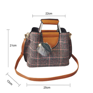 Vbiger Chic Plaid Handbag Fashionable Shoulder Bag Casual  Pompom Decoration