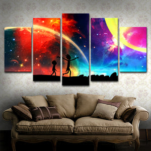 Wall decor 5 Panels Canvas Painting Rick and Morty Wall Art Painting Modern Home Decor Picture For Living Room