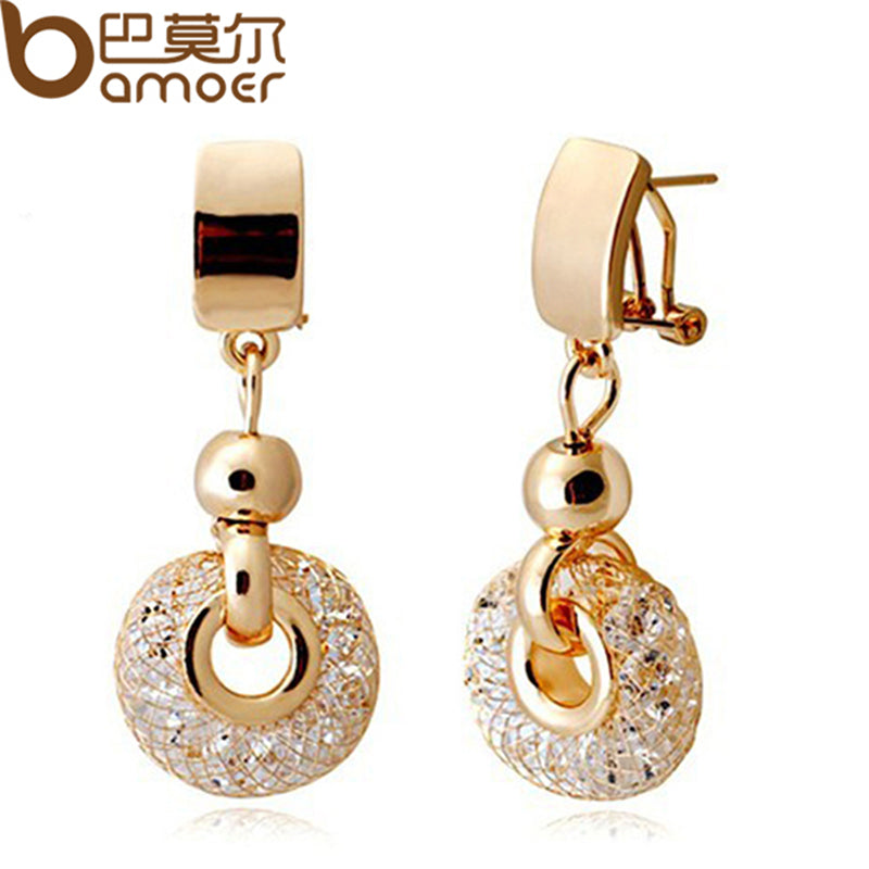 BAMOER Luxury Rose Gold Drop Earrings Champagne Wire Zircon Crystal Female Fashion Jewelry JSE019
