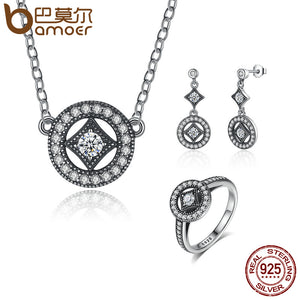 Sterling Silver Jewelry Set Classic Vintage Allure, Clear CZ Jewelry Sets