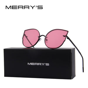 2017 New Arrival Women Classic Brand Designer Cat Eye Sunglasses Rimless Metal Frame Sun Glasses