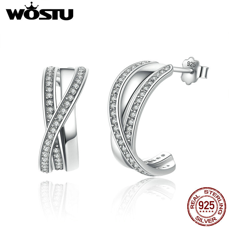 Sterling Silver Entwined Half Hoop Earrings With Clear CZ