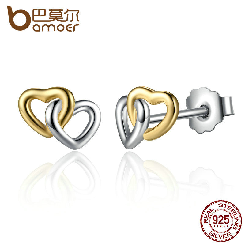 BAMOER 2017 New Arrival 925 Sterling Silver Heart to Heart Small Stud Earrings