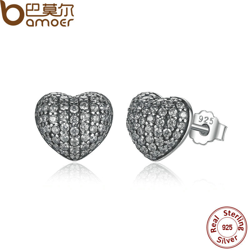 BAMOER Zirconia Brincos 925 Sterling Silver In My Heart Pave Stud Earrings, Clear CZ for Women Fine Jewelry Wedding PAS444