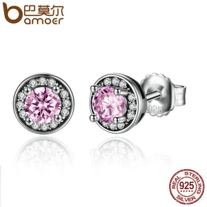 BAMOER New Arrival 100% 925 Sterling Silver Pink Stone Round Push Back Stud Earrings for Women Fashion Jewelry SCE023-1L