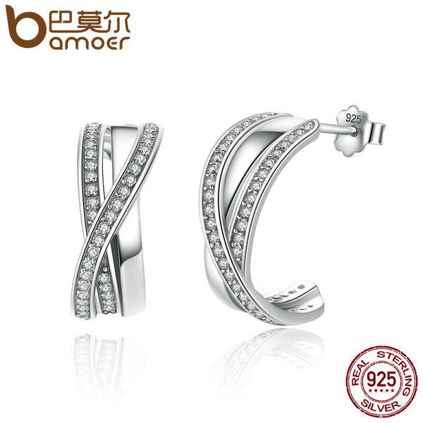 BAMOER Genuine 100% 925 Sterling Silver Entwined with Clear CZ Stud Earrings for Women 925 Silver Special Store PAS493