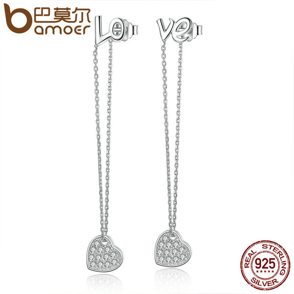 BAMOER 2017 New 100% 925 Sterling Silver LOVE Heart to Heart Drop Earrings