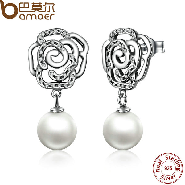 BAMOER New 100% Authentic 925 Sterling Silver Rose and Pearl Earrings TOP Quality Drop Earrings