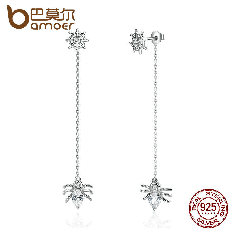 BAMOER New 925 Sterling Silver Ferris Wheel and Spider Push-back Long Drop Earrings For Women Party Fashion Jewelry SCE019