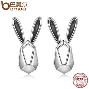 BAMOER Authentic 100% 925 Sterling Silver Cute Rabbit Animal Stud Earrings