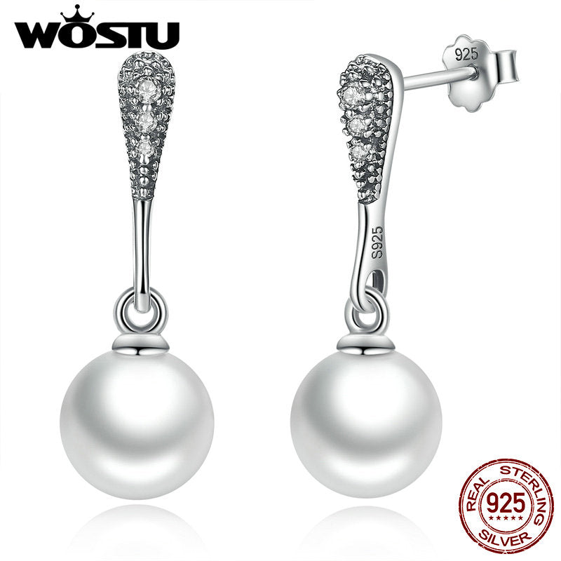 Sterling Silver Elegant Beauty Drop Earrings With White Pearl