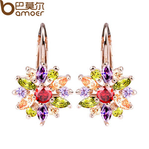 BAMOER 3 Colors Luxury Gold Color Flower Stud Earrings crystal Bijouterie