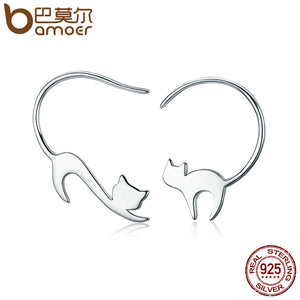 BAMOER Animal Collection 925 Sterling Silver Cute Napping Little Cat Drop Earrings